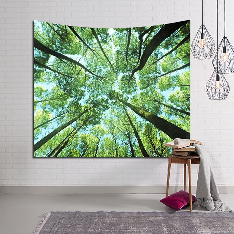 Vibrant Spring Forest Design Green Decorative Hanging Wall Tapestry