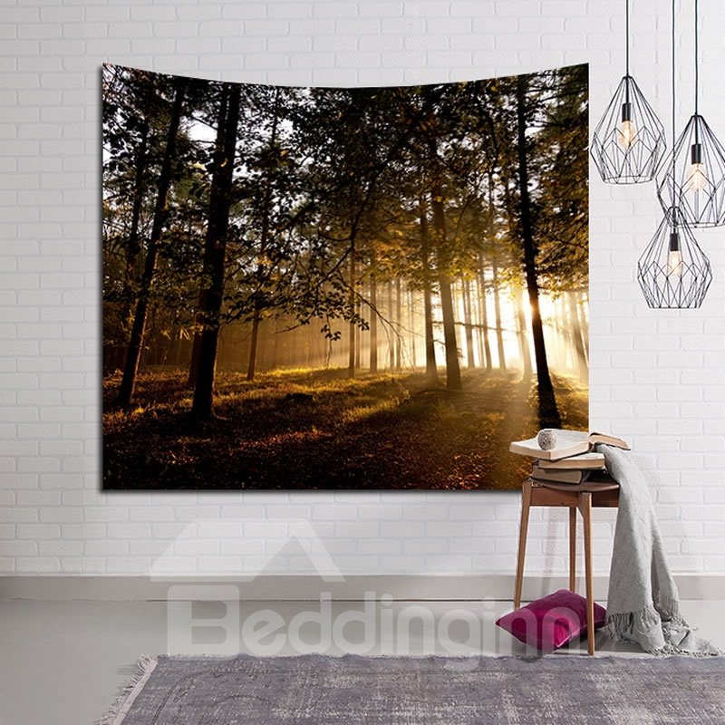 Towards Light Peaceful Woods Decorative Hanging Wall Tapestry