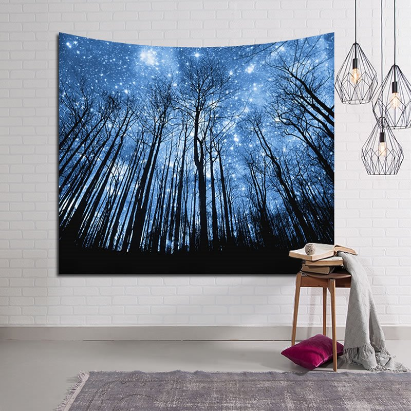 Magical Forest Galaxy Stars Twinkle Decorative Hanging Wall Tapestry