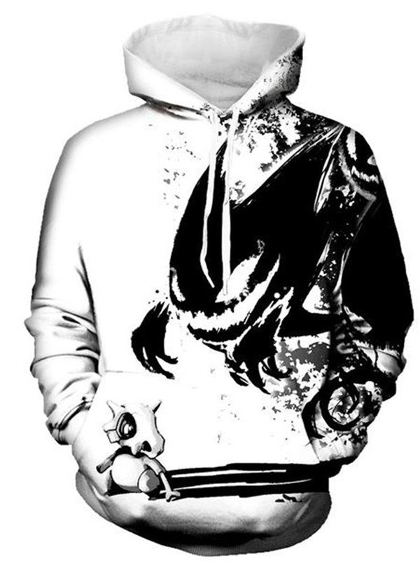 Long Sleeve Black White Monster Elf 3D PatternHoodie
