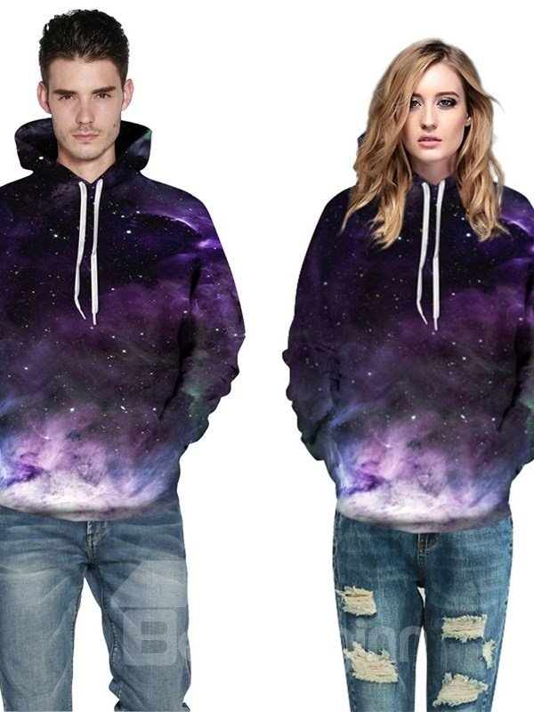 3D Pattern Purple Universal Galaxy Cool Long Sleeve Hoodie