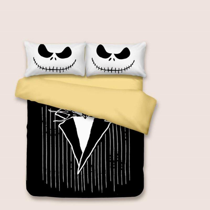 3D Black Suit Printed Halloween Polyester 3-Piece Black Bedding Sets/Duvet Covers