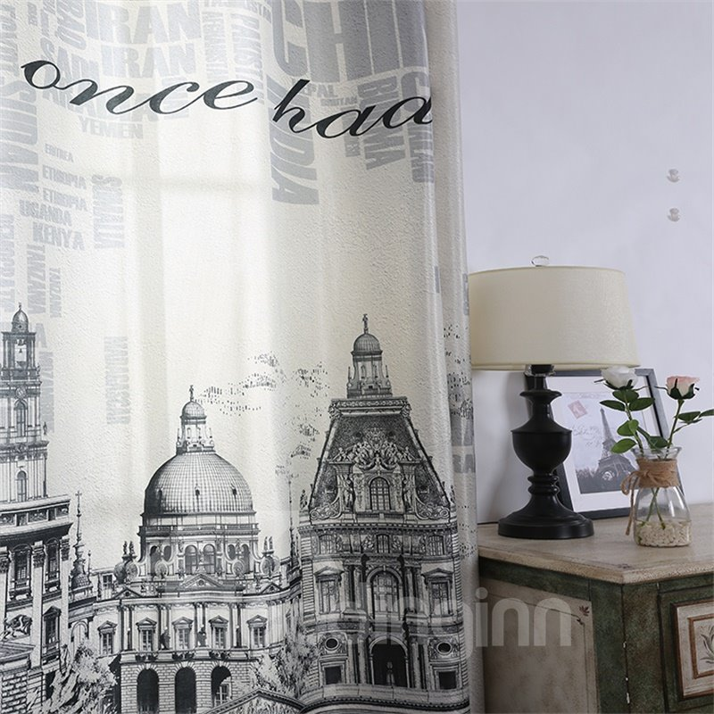 3D Castles and Churches Printed Polyester Cotton Modern Style 2 Panels Decorative Curtain