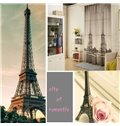 3D Two Symmetrical Eiffel Towers Printed Modern Style Decorative and Shading Curtain