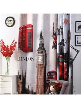 3D Big Ben Cars and Buildings Printed Retro British style Blackout and Decoration Curtain