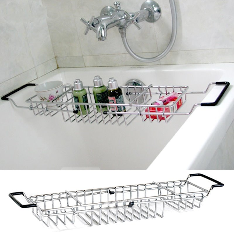 Adjustable Chrome Finish Contemporary Style Bathtub Rack