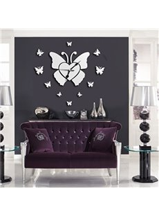 Silver Butterfly Mirror Acrylic Waterproof and Eco-friendly 1 Piece Wall Clock