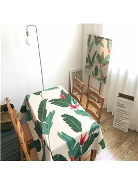 Green Leaves Vintage Style Cotton Blend Soft 1 Piece Tablecloth