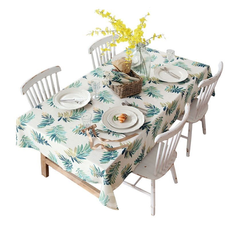 Green Leaves Vintage Style Polyester Linen Blend Soft 1 Piece Tablecloth