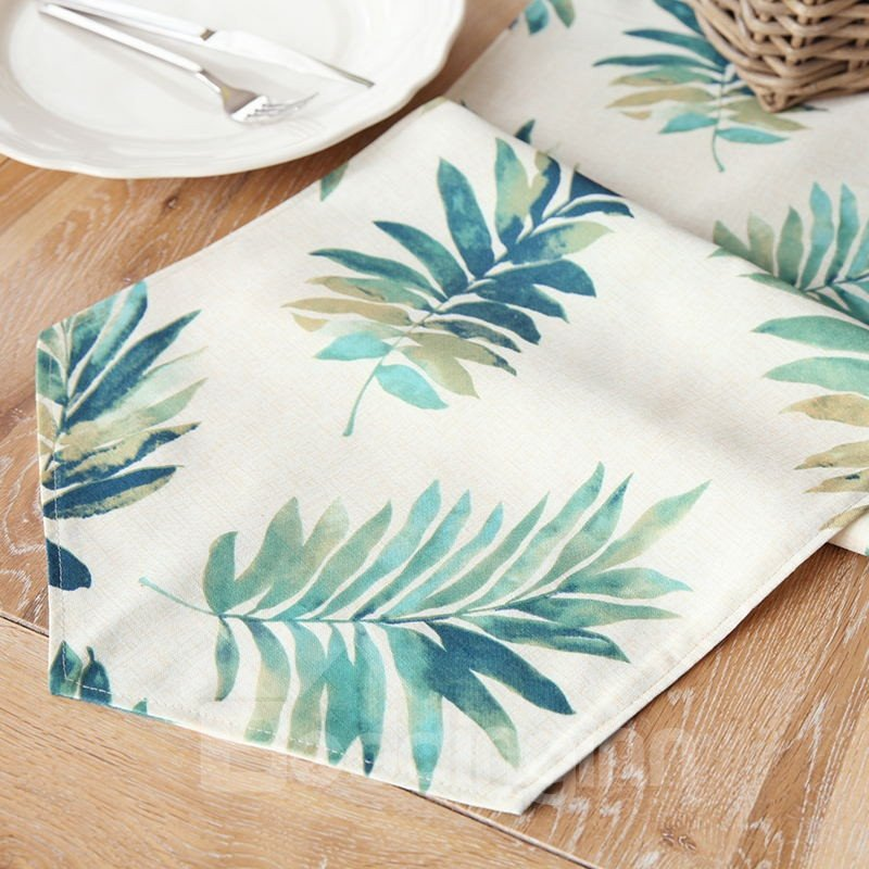 Green Leaves Vintage Style Polyester Linen Blend Soft 1 Piece Table Runner