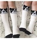 Cute Dog Printed Cotton and Spandex Nordic Style White Baby Stocking