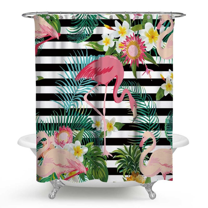 3D Waterproof Flamingos and Stripes Printed Polyester Shower Curtain