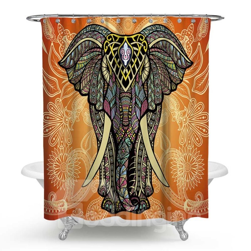 3D Waterproof Big Elephant Printed Polyester Orange Shower Curtain