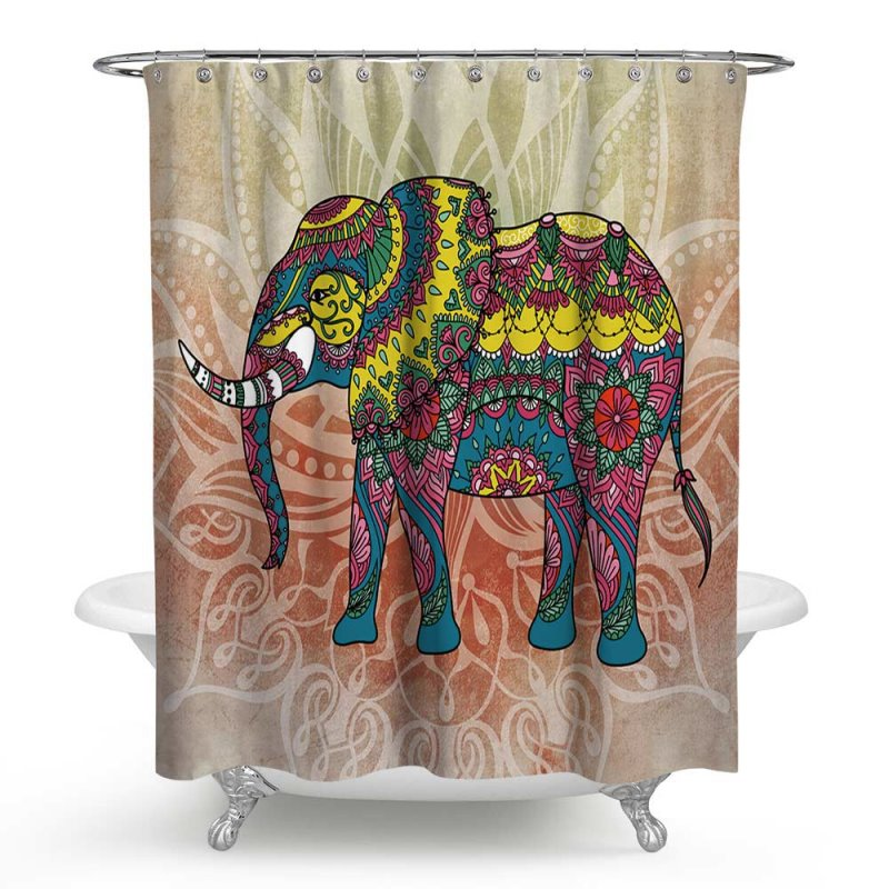 3D Waterproof Yellow Elephant Printed Polyester Shower Curtain