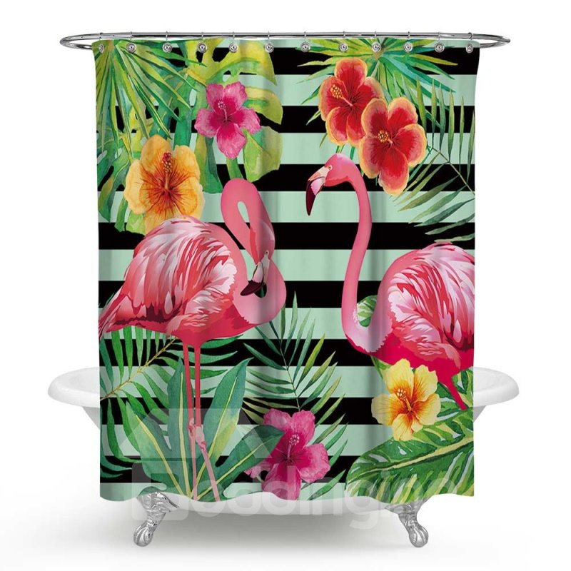 3D Waterproof Flamingos Flowers and Stripes Printed Polyester Shower Curtain