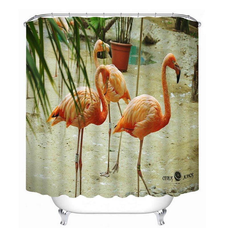 3D Waterproof Walking Flamingos Printed Polyester Shower Curtain