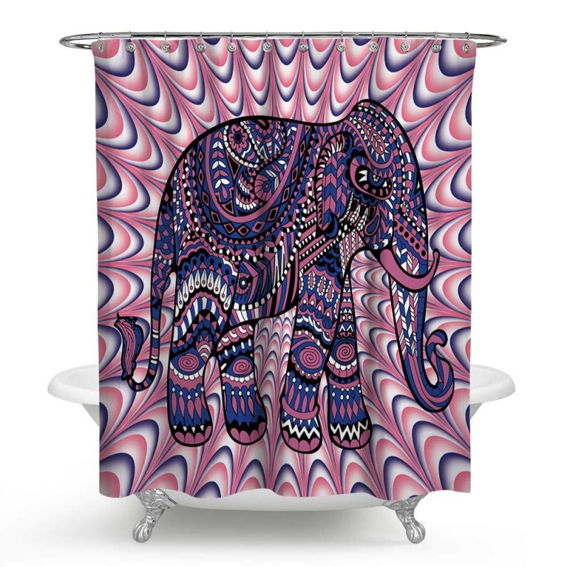 3D Waterproof Elephant Printed Bohemia Style Polyester Purple Shower Curtain