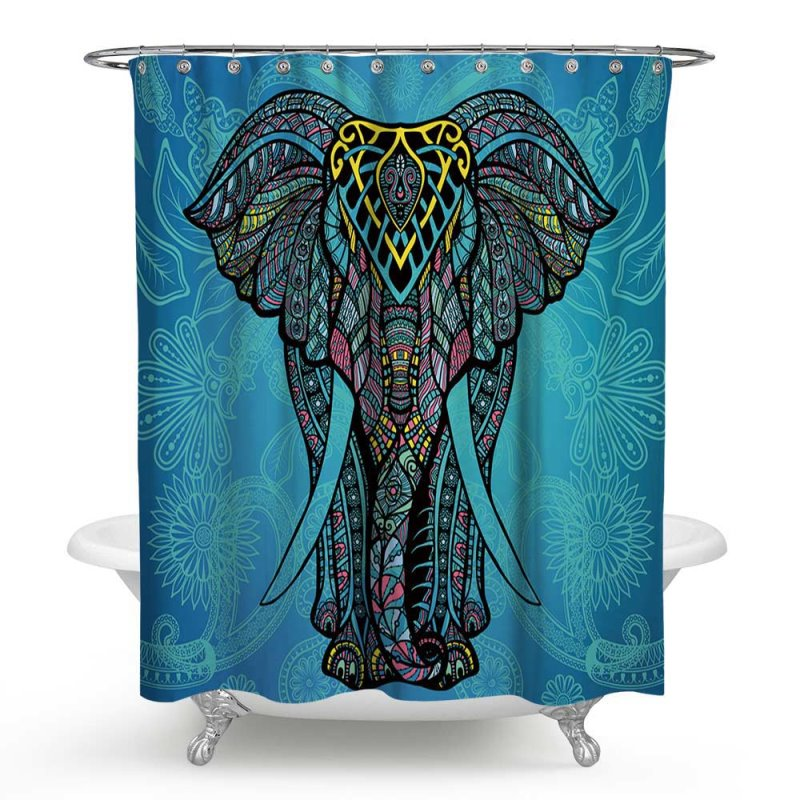 3D Waterproof Elephant Printed Polyester Blue Shower Curtain