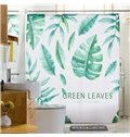 3D Waterproof Green Tropical Plants Printed Polyester Shower Curtain