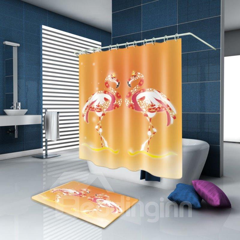 3D Waterproof Shining Flamingos Printed Polyester Orange Shower Curtain