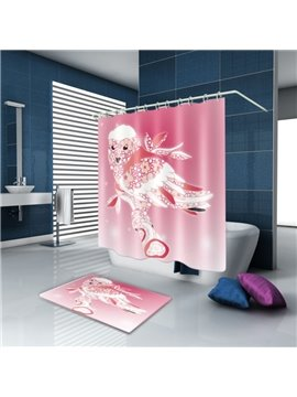 3D Waterproof Flower Pigeon Printed Polyester Pink Shower Curtain