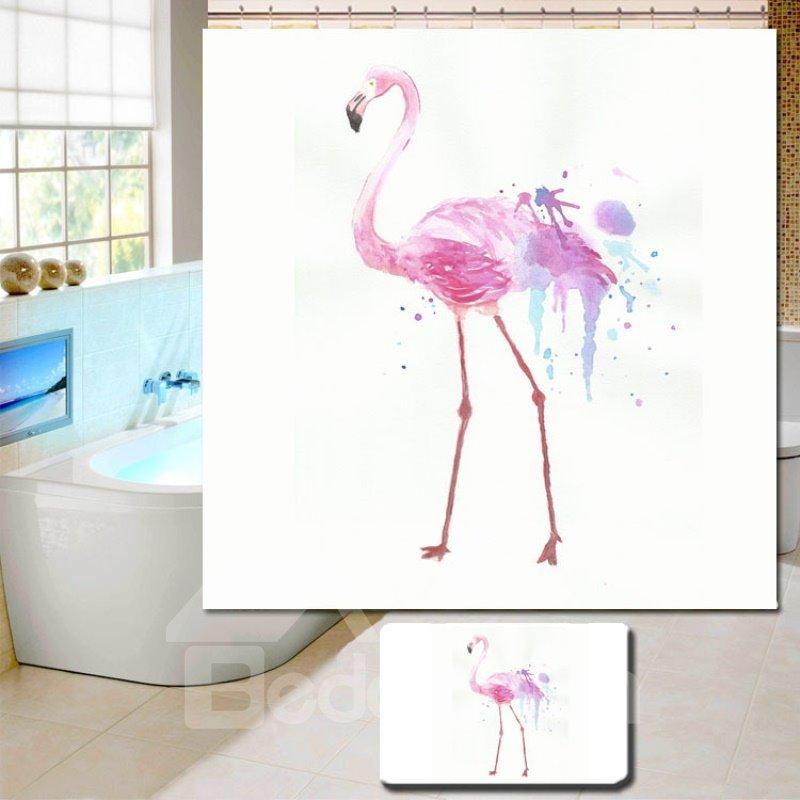 3D Waterproof Pink Walking Flamingo Printed Polyester Shower Curtain