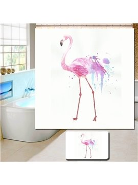 3D Waterproof Pink Walking Flamingo Printed Polyester Shower Curtain