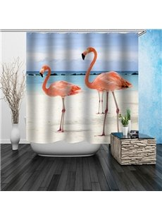 3D Waterproof Flamingos and Beach Printed Polyester Shower Curtain