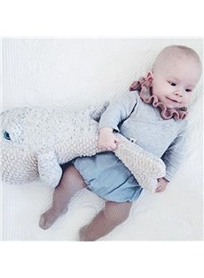 Whale Shape Cotton Nordic Style Gray Baby Throw Pillow