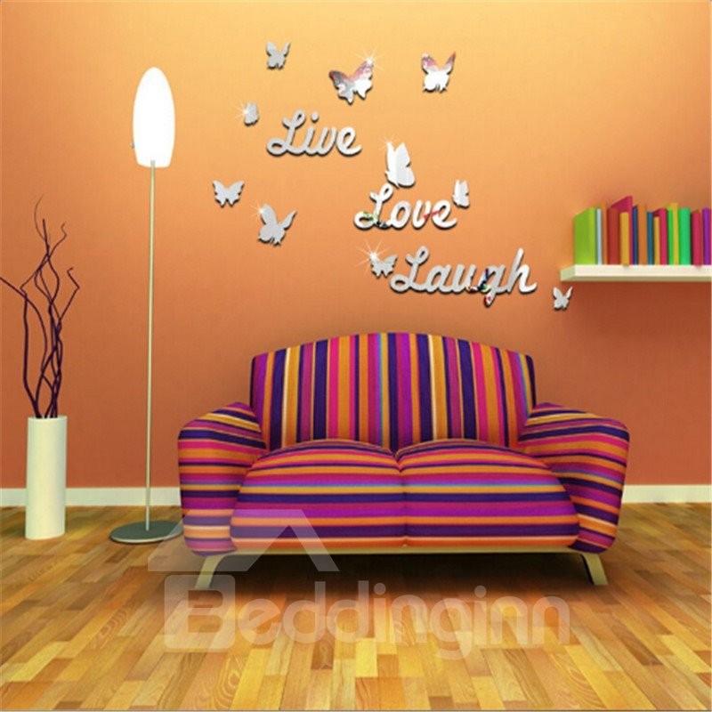 Silver/Golden Live Love Laugh and Butterflies Acrylic Mirror Eco-friendly 3D Wall Stickers