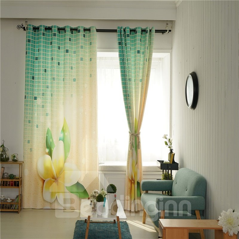 Decorative Polyester Digital Printing Beautiful Blossoms Romantic Style 2 Panels Curtain
