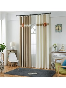 Blackout Polyester Digital Printing Light Brown and White Cross Concise Style 2 Panels Curtain