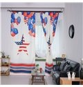 Decoration Polyester Balloons and Stars with American Flag Modern Style 2 Panels Curtian