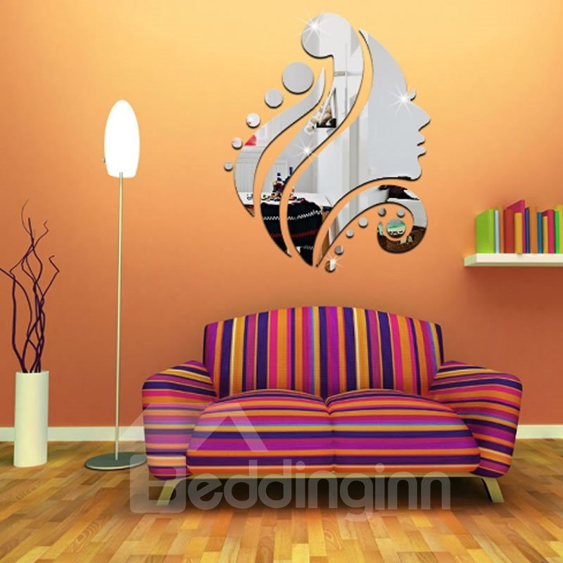 Silver/Golden Girl Head Acrylic Mirror Waterproof and Eco-friendly 3D Wall Stickers
