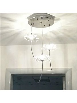 Dandelion Pattern Stainless Steel and Crystal 3 Bulbs Switch Pendant Lights