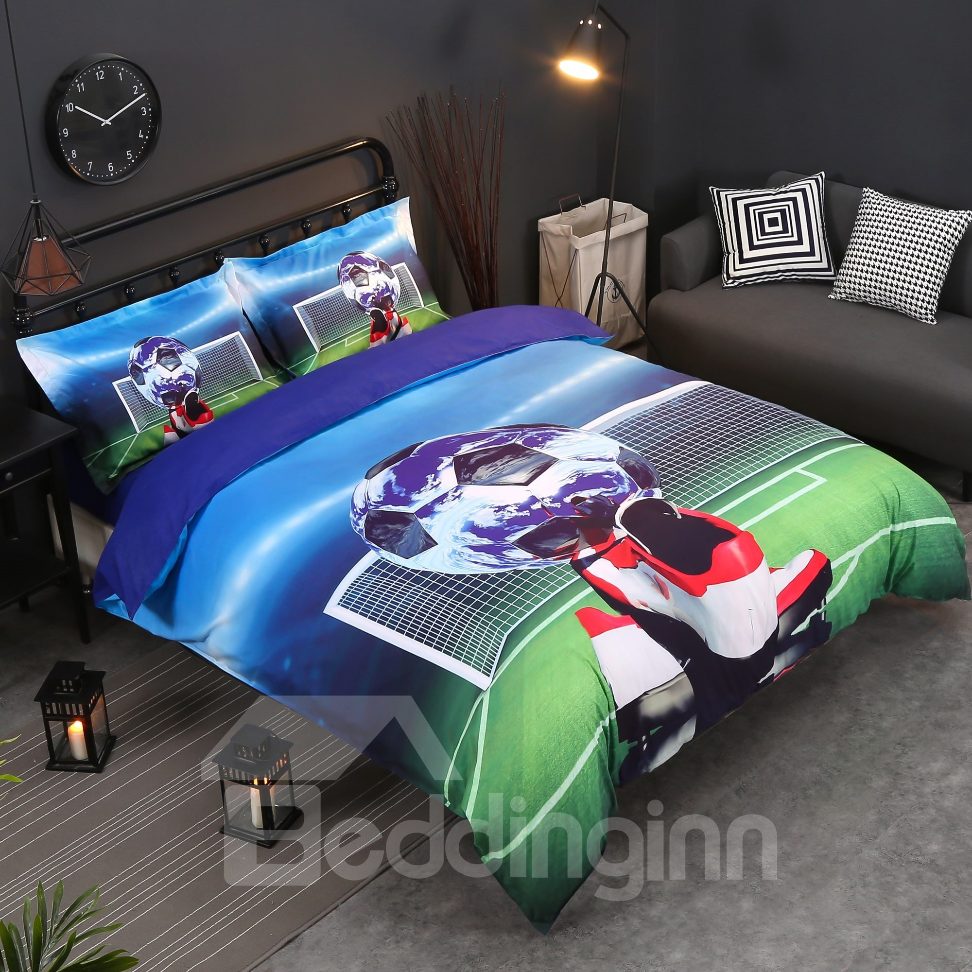 Soccer Ball And Shoes Printed Cotton 4 Piece Bedding Sets Duvet Covers