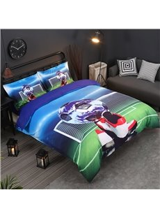 3D Soccer Ball and Shoes Printed Cotton 4-Piece Bedding Sets/Duvet Covers