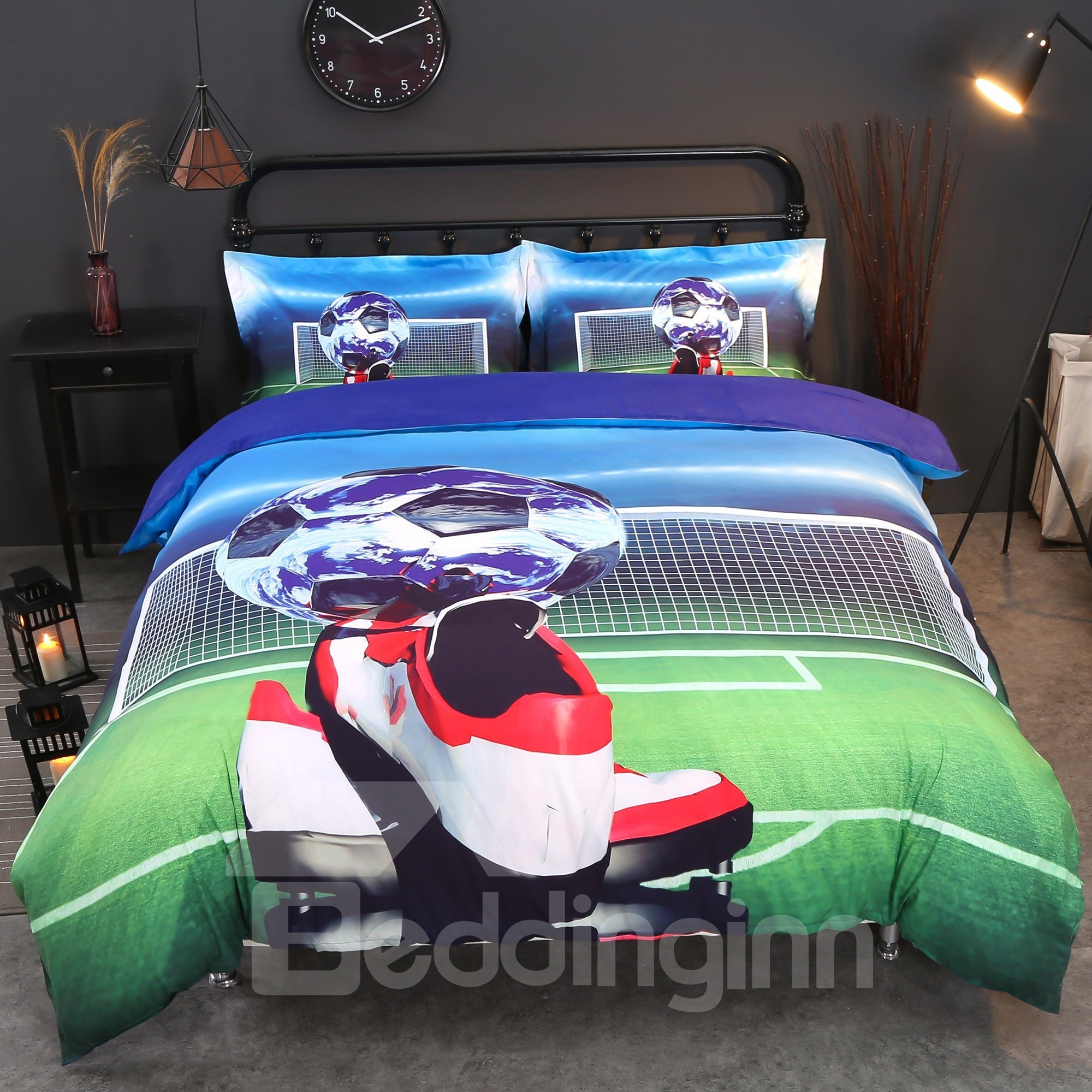 57 Onlwe 3D Soccer Ball And Shoes Printed Cotton 4 Piece Bedding Sets/Duvet  Covers