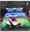 Onlwe 3D Soccer Ball and Shoes Printed Cotton 4-Piece Bedding Sets/Duvet Covers