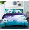 Onlwe 3D Soccer Stadium and Field Printed Cotton 4-Piece Bedding Sets/Duvet Covers