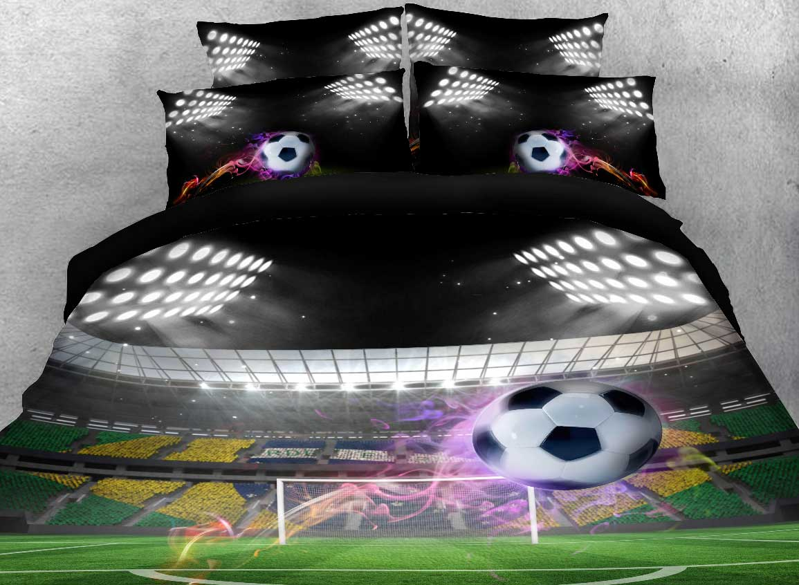 Onlwe 3D Flying Soccer Ball under Stadium Lights Printed Cotton 4-Piece Bedding Sets