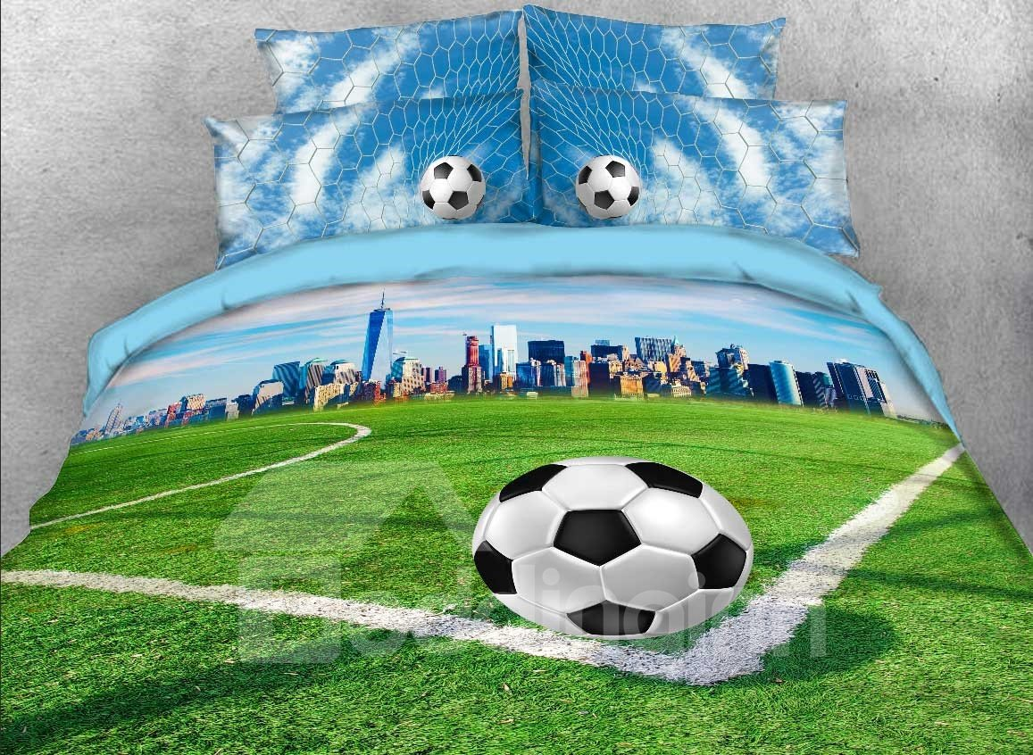 Onlwe 3D Soccer Field and City Scenery Printed 4-Piece Bedding Sets/Duvet Covers