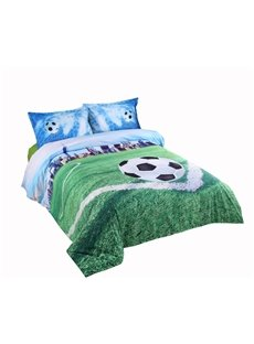 3D Soccer Field and City Scenery Printed Cotton 4-Piece Bedding Sets/Duvet Covers