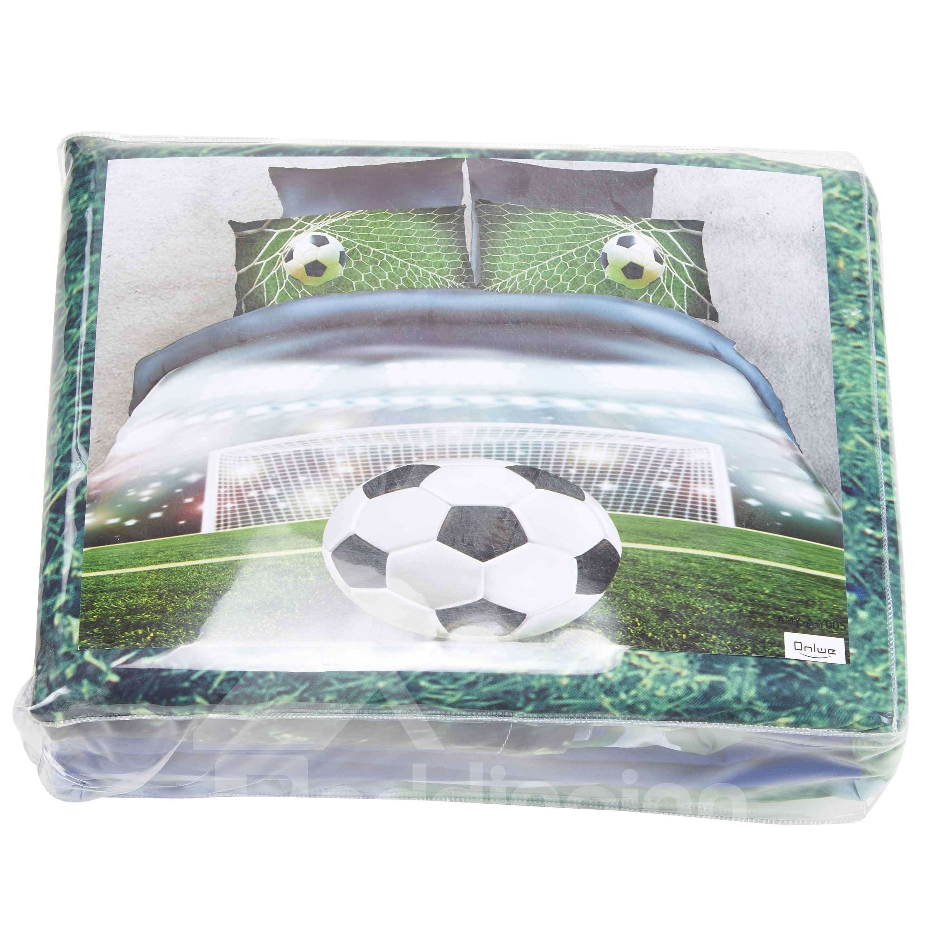 Onlwe 3D Soccer Ball in front of Goal Printed 4-Piece Bedding Sets