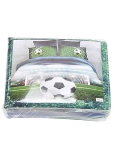 3D Soccer Ball in front of Goal Printed 4-Piece Bedding Sets/Duvet Covers