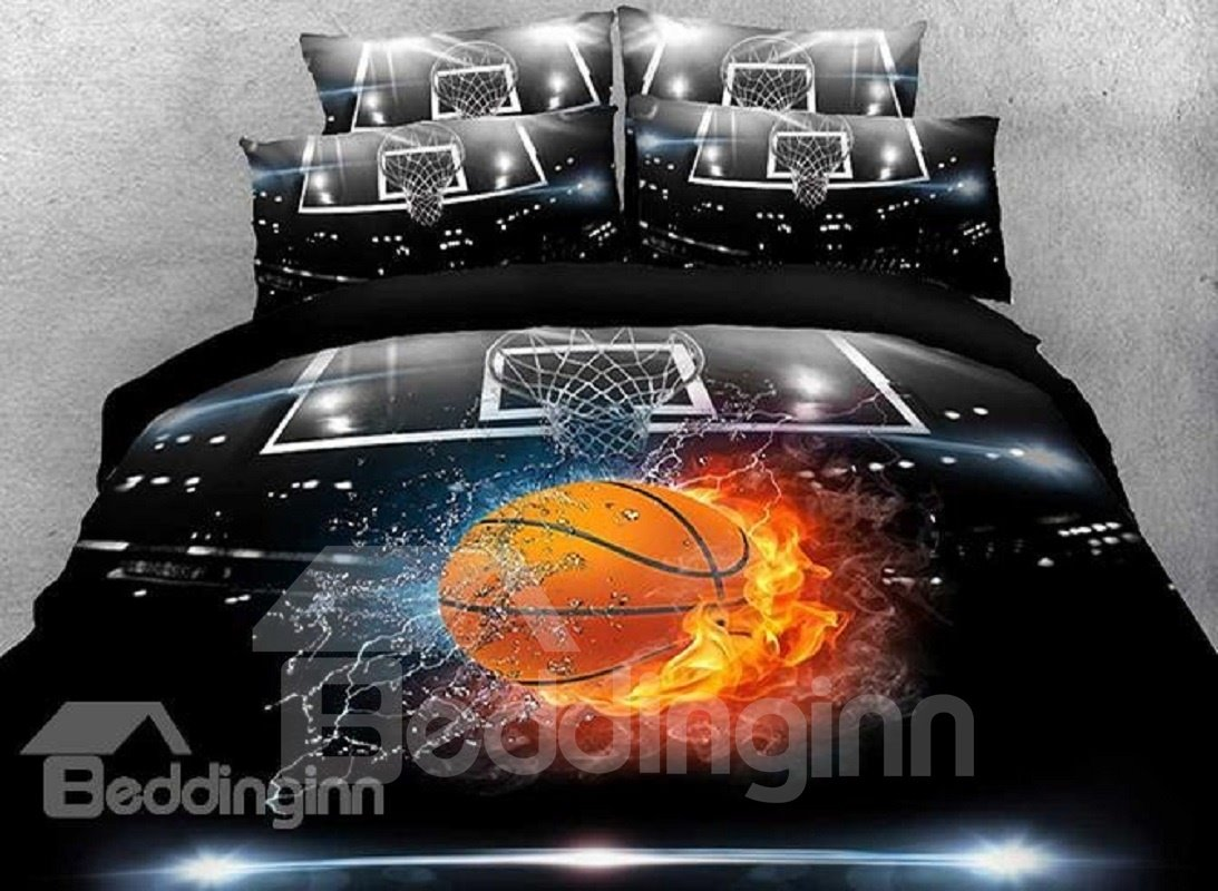 4 Piece Duvet Basketball Bedding Set in Various Sizes