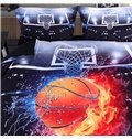 Onlwe 3D Basketball Ball in Fire and Water Printed Cotton 4-Piece Bedding Sets