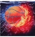 Onlwe Basketball Ball in Fire and Water Printed Cotton 3D 4-Piece Bedding Sets