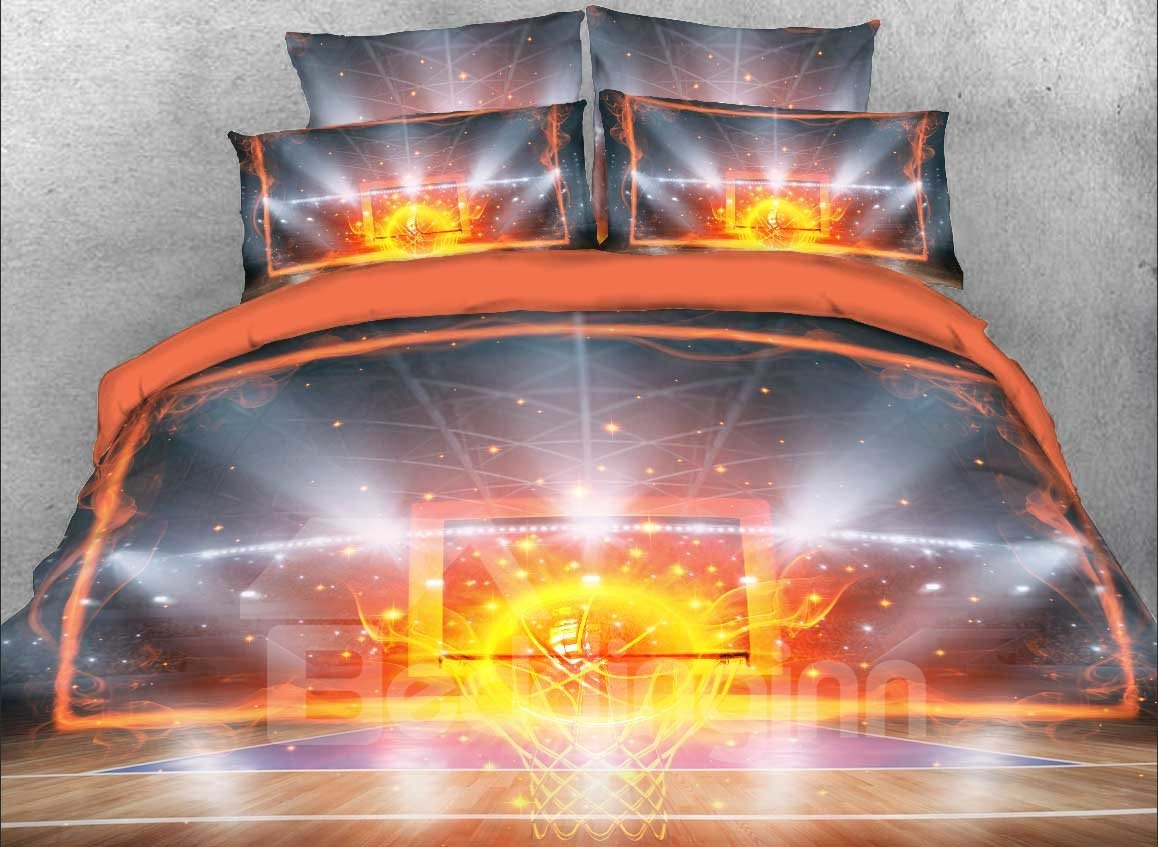 Basketball 4 Piece Duvet Bedding Set in Various Sizes