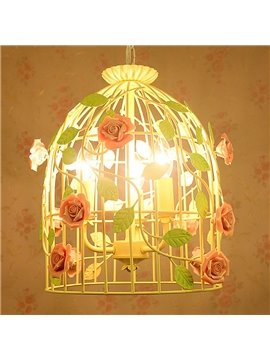 Pink Roses and Green Leaves on Cage Iron and Ceramic Plug Pendant Light